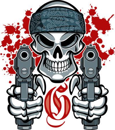 gangster skull with guns