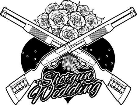 crossing shotgun over hart and flowers, and text shotgun wedding Vecteurs