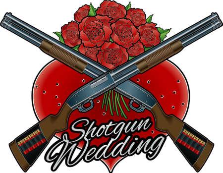 crossing shotgun over hart and flowers, and text shotgun wedding