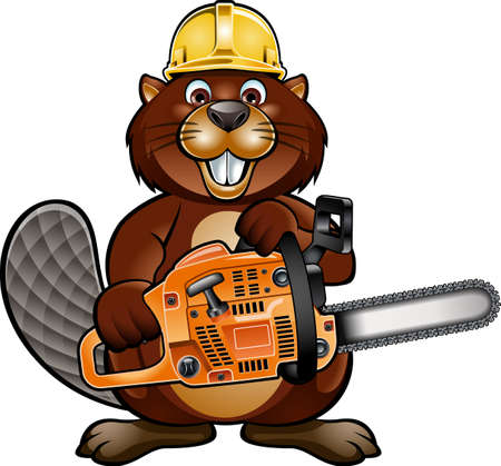 cartoon beaver wearing safety helmet and holding chainsaw Vecteurs