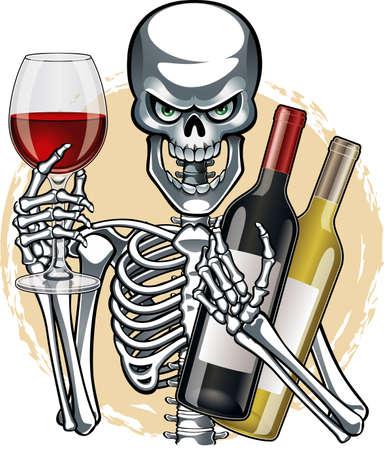 human skeleton holding wine glass and bottles of wine Vetores