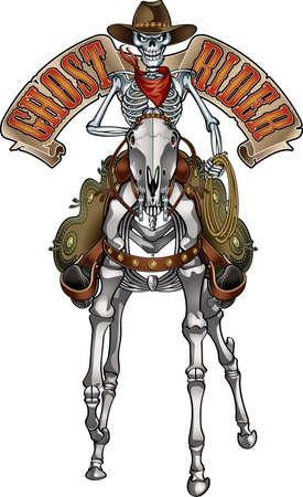cowboy ghost rider skeleton skull Vektorgrafik