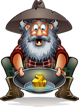 cartoon prospector with gold nugget