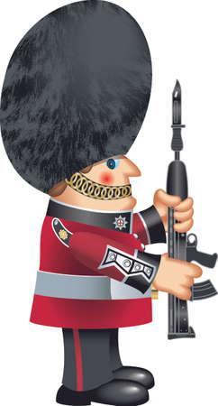 british guardsman with bearskin hat Ilustración de vector
