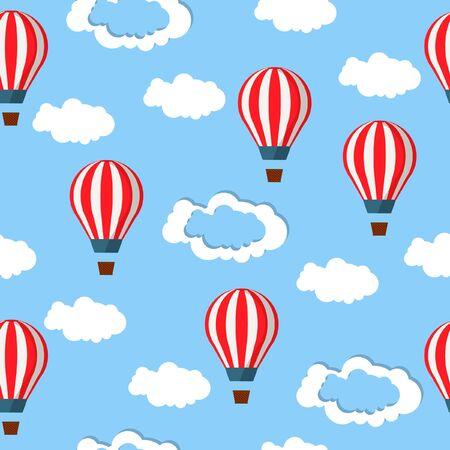 Ballons à air chaud plats mignons dans le ciel, modèle sans couture.