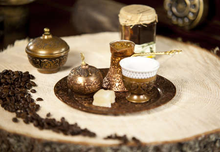 Traditional Turkish Coffee with coffee beans aside