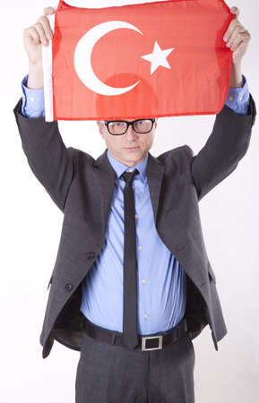 fanatics: Man holding flag of Turkey. Stock Photo