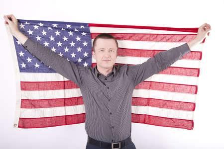 fanaticism: Man holding flag of USA
