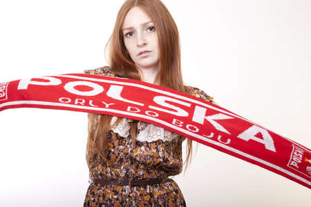 fanatics: Young woman Poland fan