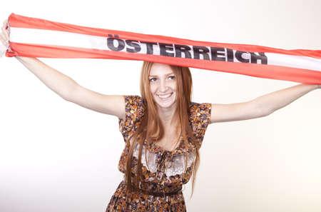kibitz: Portrait of a young beautiful female austria fan.
