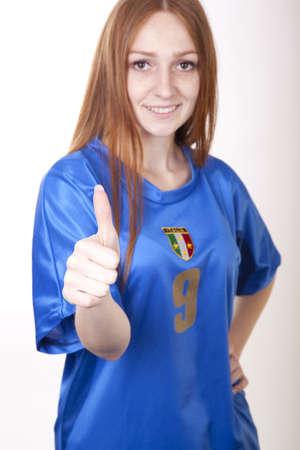 soccer wm: Portrait of a young beautiful female italy fan.