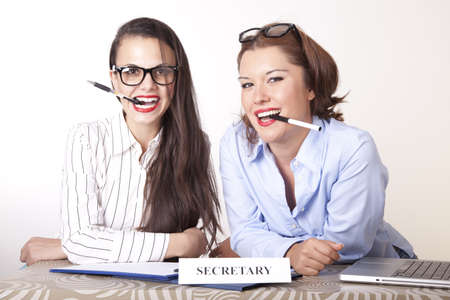 Portrait of a two young beautiful female secretaries smiling. Stock Photo - 16238337