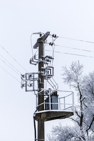 old concrete power-line with transformer and winter-tree  photo