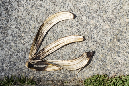 banana peel on pavement. photo