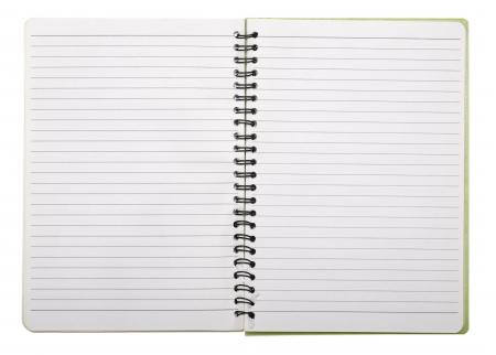 gebruikte lege nota boek met ringband geïsoleerd op wit