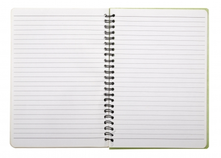 spiral book: used blank note book with ring binder isolated on white