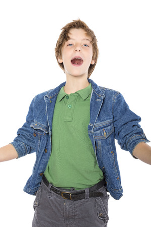 happy teenage boy singing with joy, isolated on white.