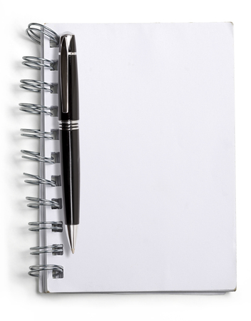 used blank note book with ring binder and black ball pen, isolated on white. photo