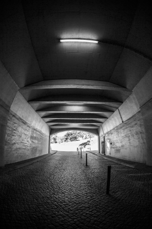 urban decline: Light at the end of tunnel black and white Stock Photo