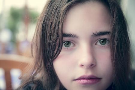 vintage close up portrait of a teenager girl. 写真素材