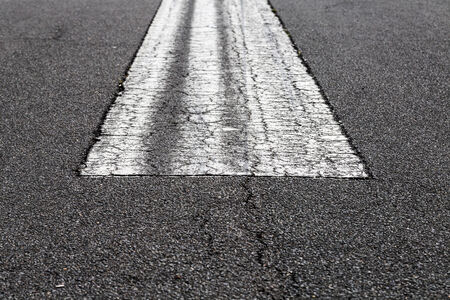 airstrip: road marking on an airstrip at airport. Stock Photo