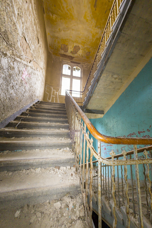 ruinous: fish eye shoot of a very old ruinous staircase. Stock Photo