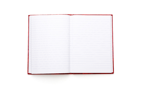 open blank book with lines and red cover, isolated on white. photo