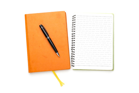 two page spread: two diaries with ball pen, bookmark, ring binder, one open, one closed.