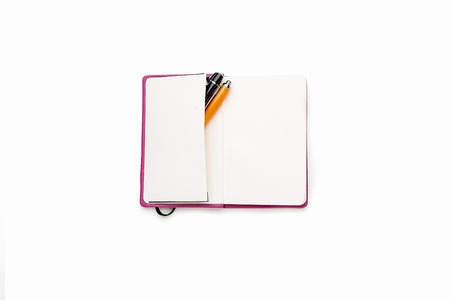two page spread: blank open diary with two pens in side pocket, isolated on white.