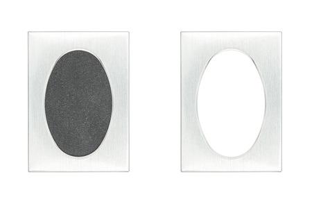 brushed aluminium: brushed aluminium passpartout picture frame with and without black background, isolated