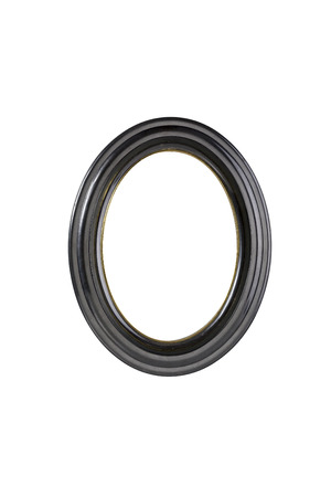 Oval Black Picture Frame Isolated On White Stock Photo Picture And