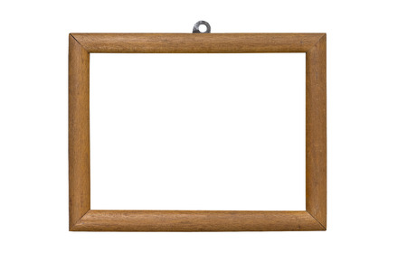 mounting: old wooden picture frame with mounting, isolated on white Stock Photo