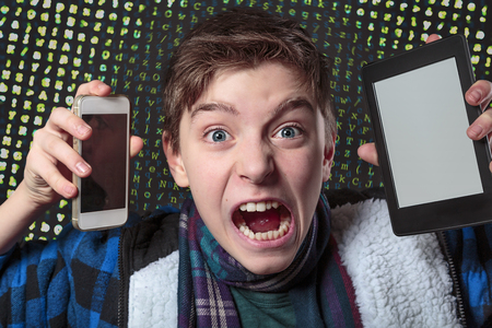 manic: teenager gets crazy with digital media, letters salad background