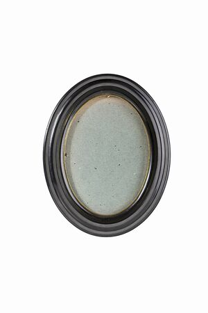 black picture frame: oval black picture frame with gray cardboard background, isolated on white Stock Photo