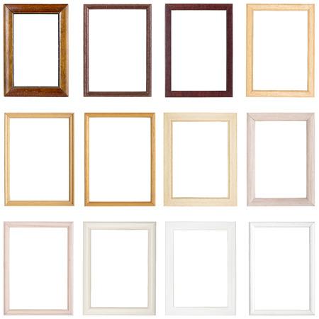 Colección de sencillos marcos de madera, aislado en blanco Foto de archivo - 37503920