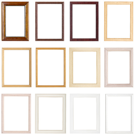 photo montage: collection of simple wooden picture frames, isolated on white Stock Photo