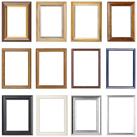 colección de marcos de madera, aislado en blanco