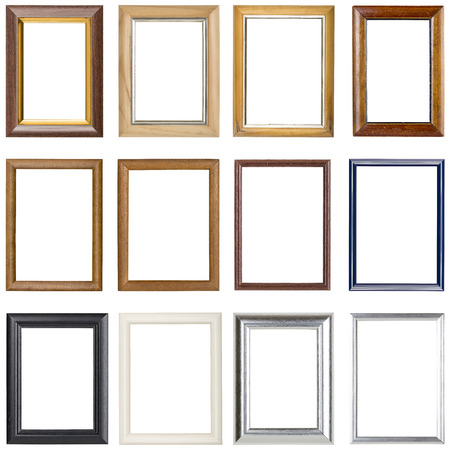 photo montage: collection of wooden picture frames, isolated on white