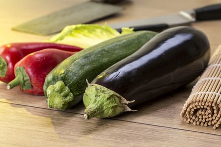 bellpepper: still life with eggplant, zucchini and red bellpepper
