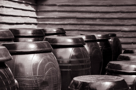 ancient japanese: black and white shot of ancient japanese crocks