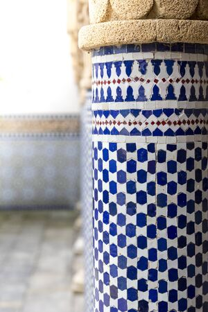blue and white oriental pattern at a pillar