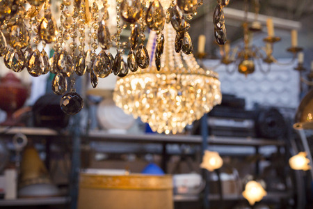 luster: luster on a flea market with other ceiling lights