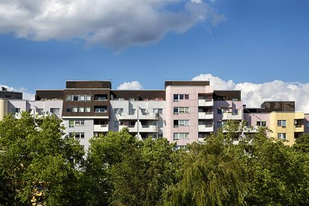 public housing: public housing with trees in berlin kreuzberg