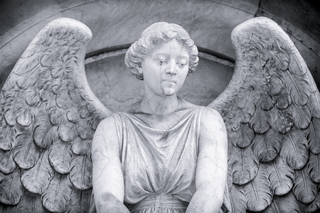 sad old woman: black and white shot of an angel. Unknown artist of the 18th century.