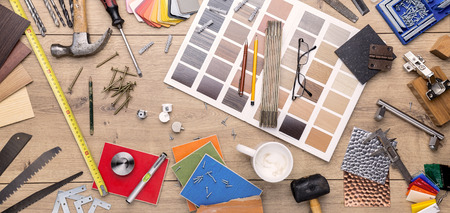 design objects: construction still life with many tools and materials