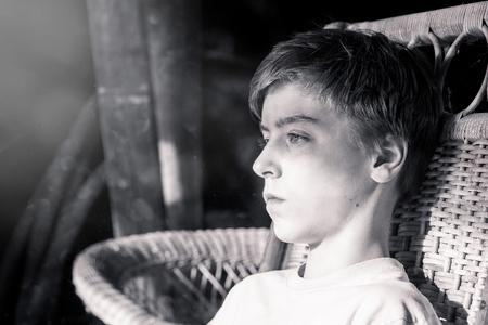 bw: bw portrait of a beautiful teenage boy Stock Photo