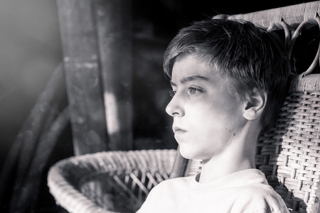 teenager boy: bw portrait of a beautiful teenage boy Stock Photo