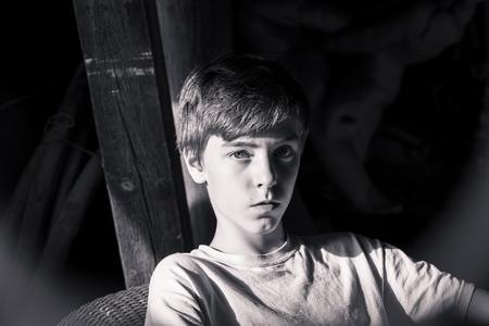 cool guy: bw portrait of a beautiful teenage boy Stock Photo