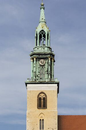 st german: steeple of St. Marienkirche,. Berlin Alexanderplatz