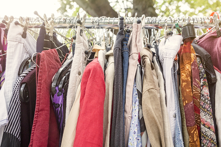 specific clothing: clothes on a rack on a flea market